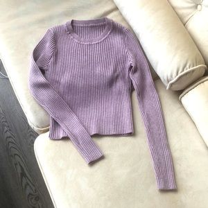 NWOT Cropped Long Sleeve Ribbed Crewneck Top, XS